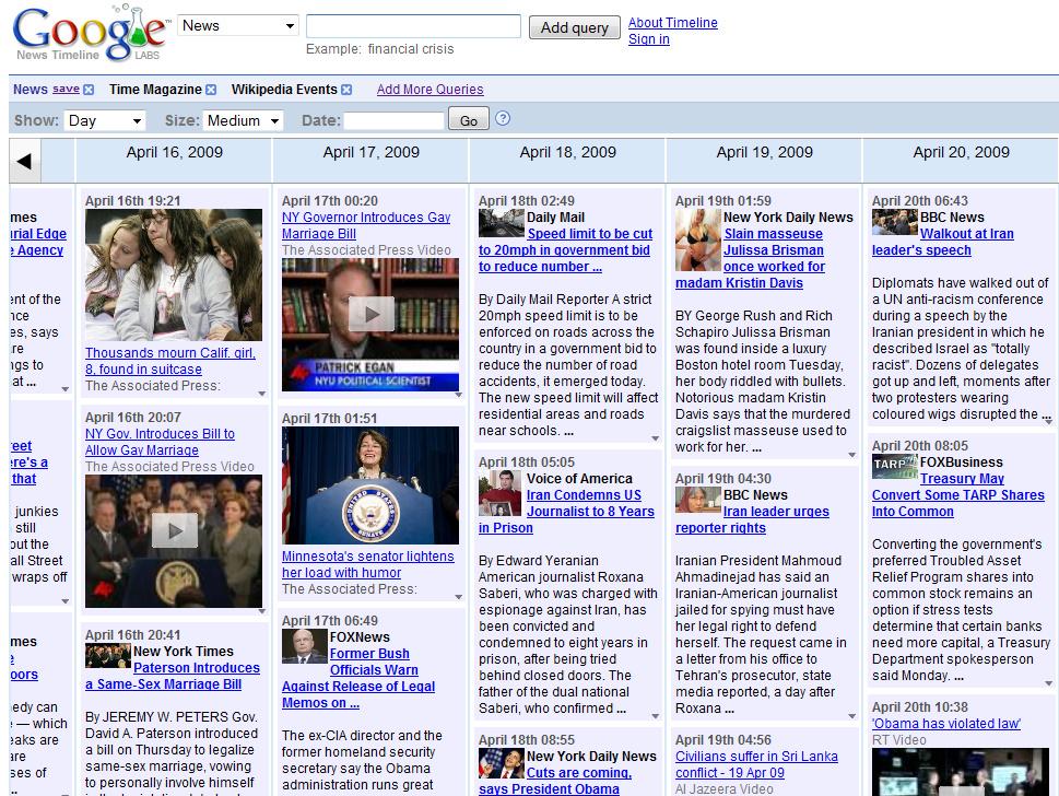 Google News Timeline- צילומסך