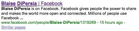 ככה זה מופיע עד עכשיו במנועי החיפוש. פייסבוק ושמות משתמש