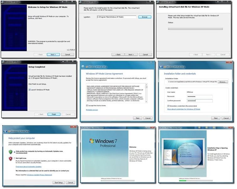 תהליך ההתקנת של XP Mode בחלונות 7. שלב אחר שלב.