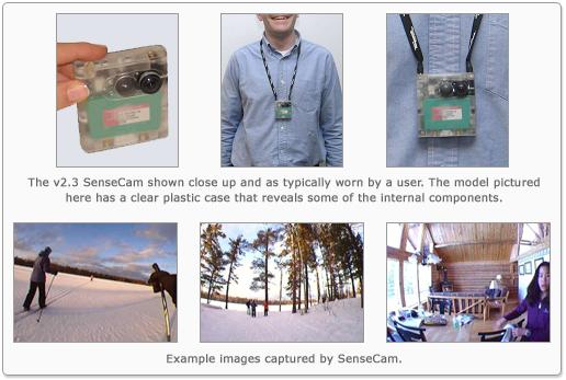 מצלמת ה-SenseCam כפי שפותחה במקור על-ידי מיקרוסופט. קרדיט תמונה: מיקרוסופט