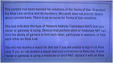 ההודעה שיקבל השחקן כאשר הקונסולה הושעתה ממשחק ברשת ה-XBox Live