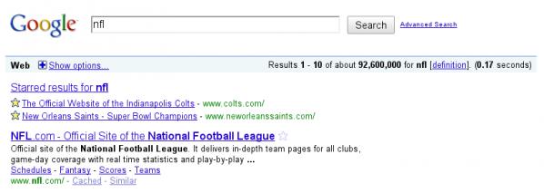כך נראות תוצאות החיפוש עם Google Stars.