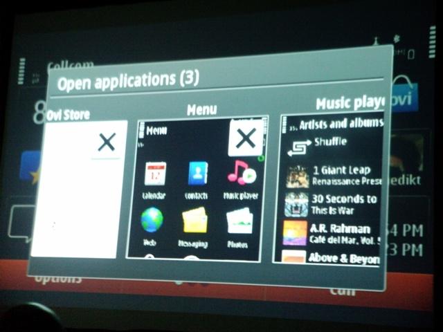 Nokia N8 new Multi-Tasking menu