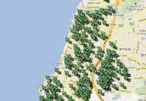 מפת המקלטים באזור תל-אביב