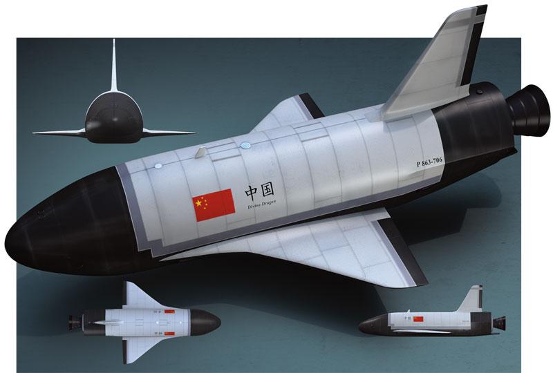 מטוס החלל שנלונג. עם תחנת חלל בשלבי בנייה ותוכניות למשימת ירח מאויישת, סין מתכוונת לשנות את מאזן הכוחות במסלול הלוויני. (תמונה: מדע פופולארי)