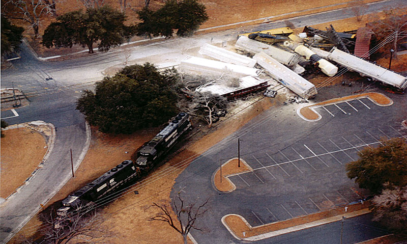 ב-2005, כאשר הרכבת של גורפלק סאות'רן, שנשאה מטען כלור דרך גראניטוויל, דרום קרוליינה, ירדה מהפסים, זרם גז רעיל אל תוך העיירה (תמונה: מדע פופולארי)