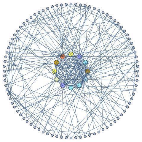 באיור - גרף המתאר רשת חברתית - הקודקודים הם אנשים והקשתות מייצגות חברות או היכרות בין אנשים. במרכז הרשת מצויה האליטה שגודלה כשורש מגודל הרשת. מספר הקשתות בין חברי האליטה הוא בסדר גודל של כל הקשתות ברשת וחברי האליטה מחוברים למרבית האנשים שמחוץ לאליטה וכך הם שומרים על כוחם.