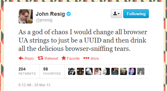 """גם ג'ון רזיג, היוצר של jQuery, לא """"מת"""" על השימוש ב UA. מקור: twitter, ליאור בר-און"""