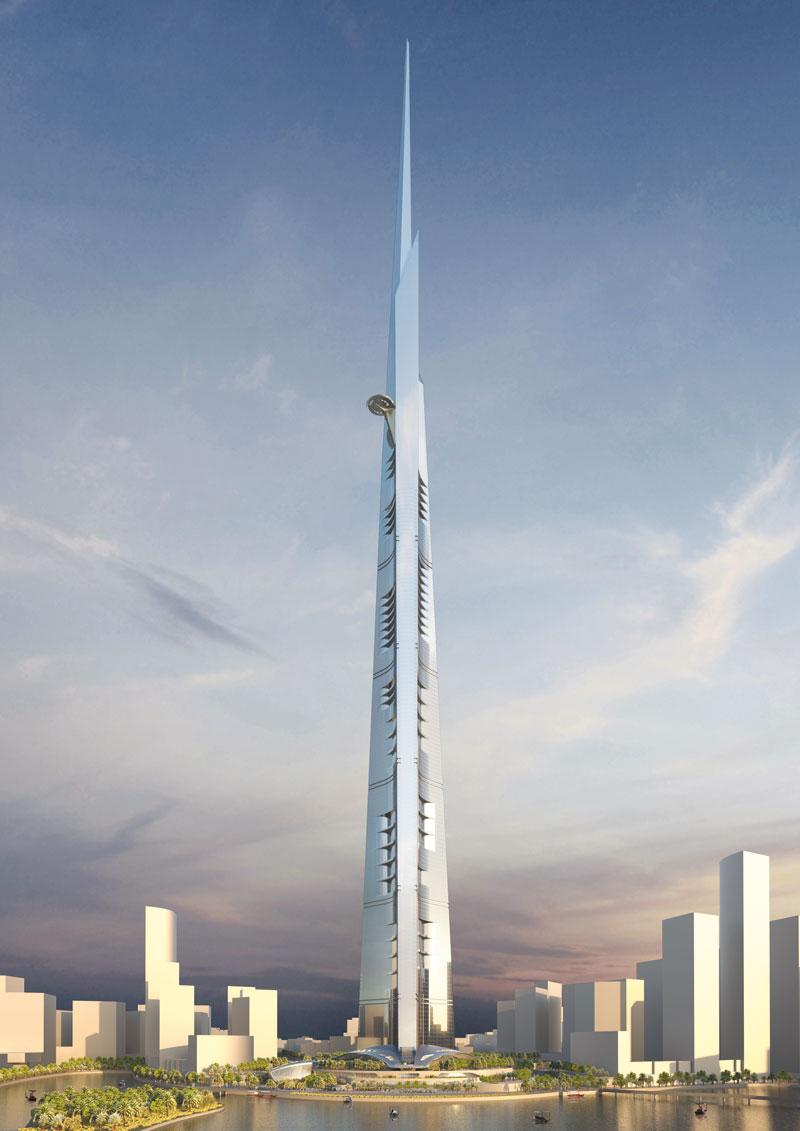 בתמונה: מגדל הקינגדום שגובהו 1,000 מ', שבנייתו אמורה להסתיים ב-2017, בג'דה, ערב הסעודית, הוא הבניין הגבוה בעולם הנמצא בתכנון.