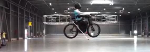האופניים המעופפים. מקור: צילום מסך מהסרטון המצורף