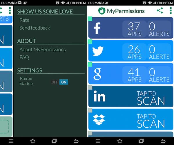 אפליקציית האנדרואיד של MyPermissions