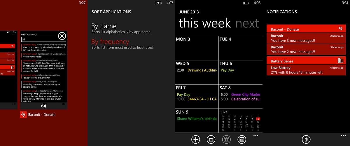 מרכז התראות, לוח שנה, סידור אפליקציות וניהול אפליקציות. מקור: Reddit, לחצו להגדלה.