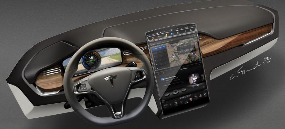 """מסך מגע בגודל """"17 ברכב החשמלי של טסלה מדגם ה-Model X, תמונה: יח""""צ"""