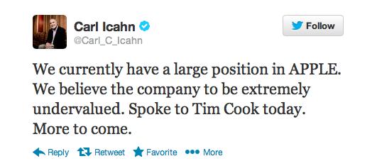 carl icahn tweet