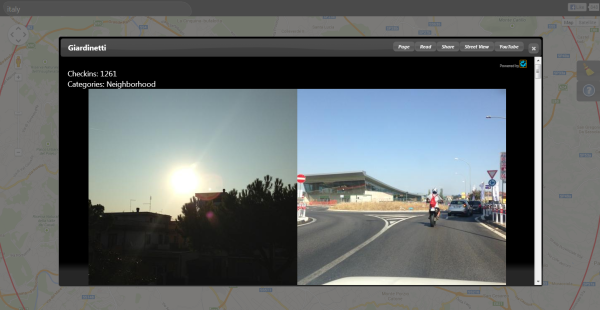 חלונית המידע הכוללת אזור, תמונות וקישורים לפלטפורמות נוספות. מקור: צילום מסך