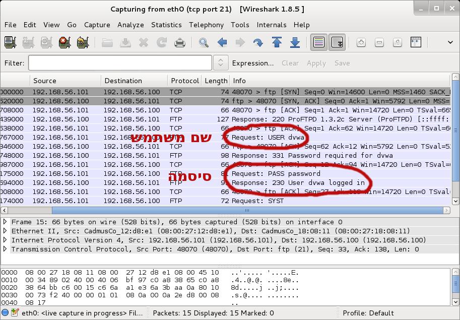 תוכנה ידועה בשם Wireshark להאזנה לתעבורת הרשת