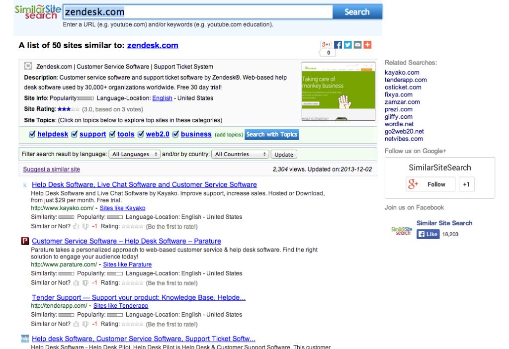 חיפוש ב-similarsitesearch.com. צילומסך
