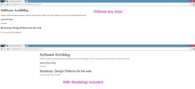 טקסט HTML פשוט, בלי ועם Bootstrap שנטענה. וידוי: הוספתי על אלמנט ה body תכונת class עם הערך container, בכדי לקבל את המרכוז.