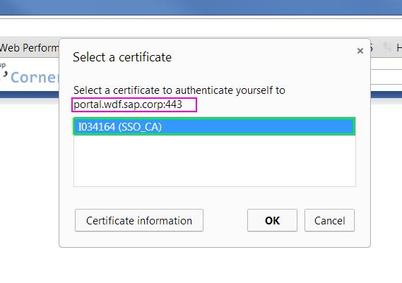 חלון אישור לשליחת Client Certificate בכרום. מקור: ליאור בר-און