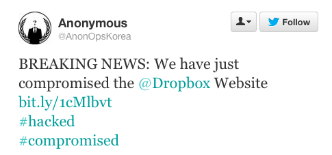 dropbox twit by hackers