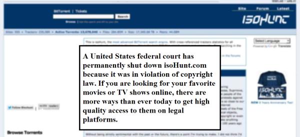 הודעה הסגירה באתר isoHunt.com. מקור: צילום מסך