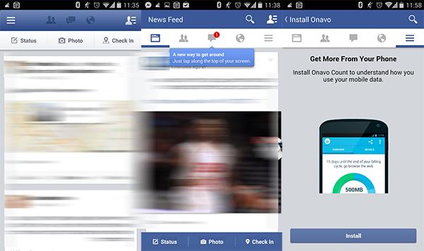 משמאל: הממשק הישן. במרכז: הממשק החדש. מימין: Onavo. קרדיט תמונה: צילום מסך