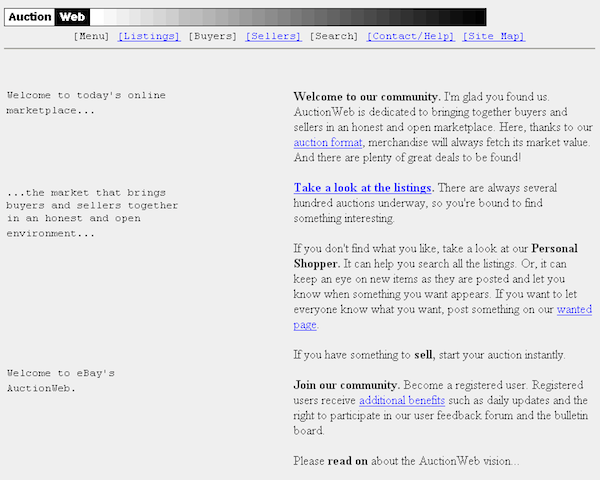 ככה זה נראה בהתחלה, AuctionWeb. צילום מסך: eBay