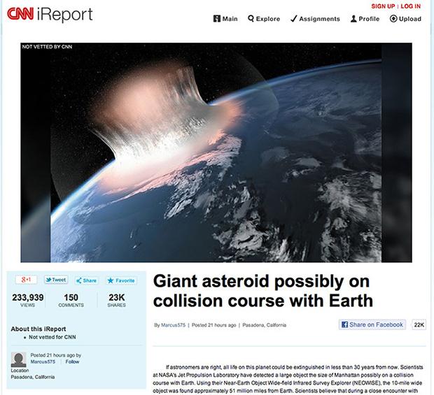 הידיעה שיצרה פאניקה. מקור: צילום מסך CNN iReport