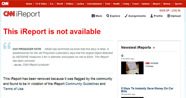 אחרי: ההבהרה של הרשת. מקור: צילום מסך CNN iReport