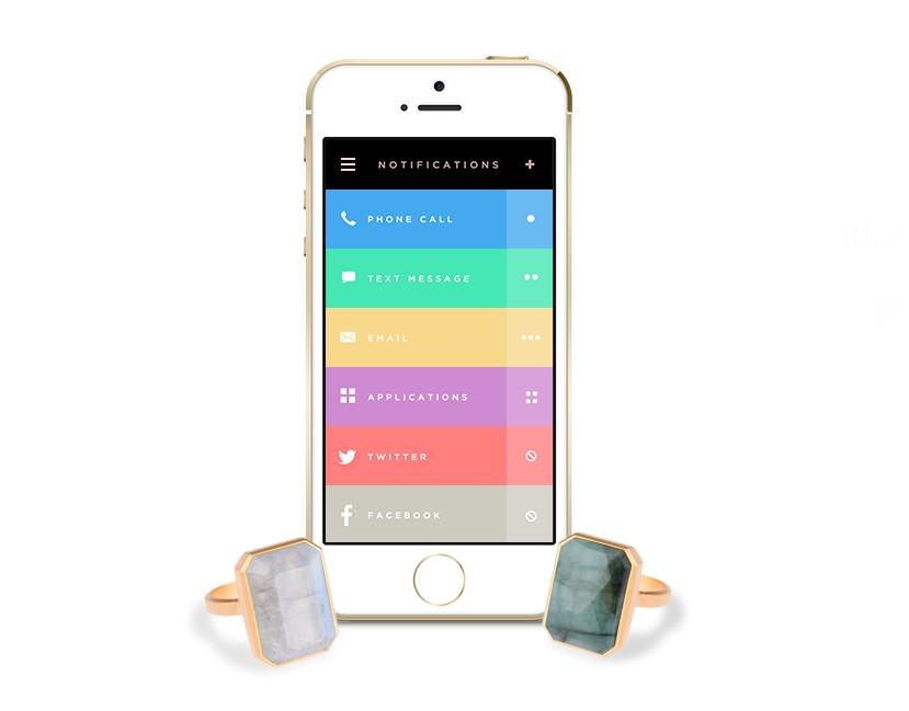 מסך האפליקציה והטבעות. מקור: Ringly