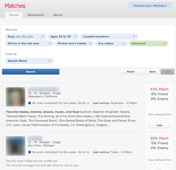 התאמות ב-OkCupid. צילום מסך.