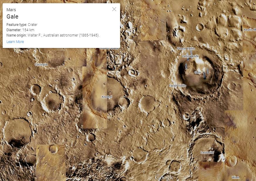 מכתש Gale. פה נחת ה-Curiosity. מקור: Google Maps