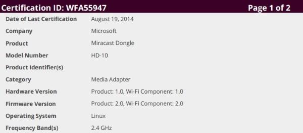 המכשיר החדש מבית מיקרוסופט. מקור: WiFi Alliance