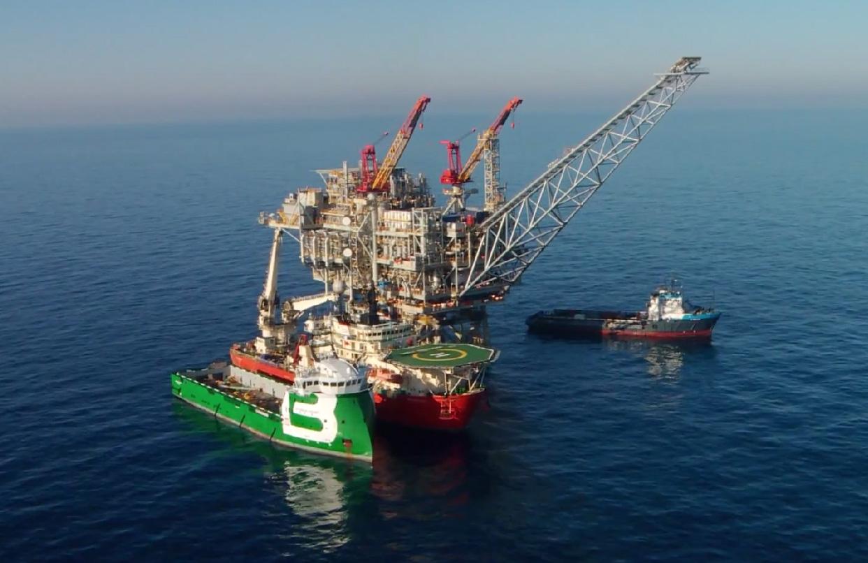 """מאגר הגז """"תמר"""" בים התיכון. מקור: צילום מסך מתוך סרטון וידאו Noble Energy"""