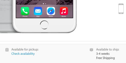 כך זה נראה באתר של אפל. רוצים אייפון 6 פלוס? המתינו חודש