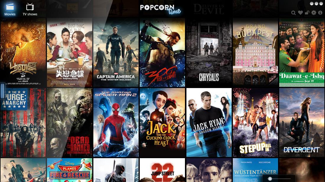 ממשק מבריק (ראיתם מה עשינו פה?). מקור: PopcornTime