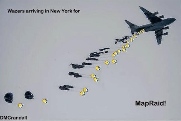 אחד הממים שיצרו חברי קהילת Waze בניו יורק. מקור: Waze Blog
