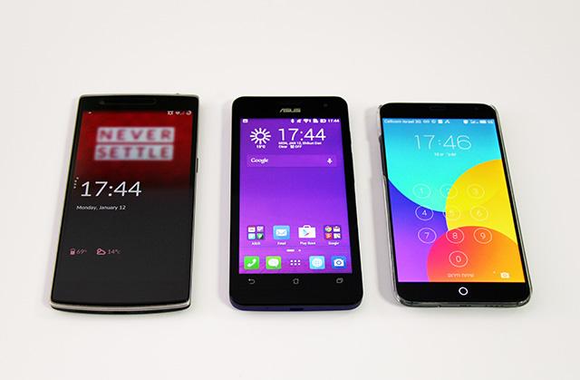 המימדים דומים, אבל גם ל-OnePlus One משמאל, וגם ל-MX4 מימין מסך גדול יותר. מקור: גיקטיים