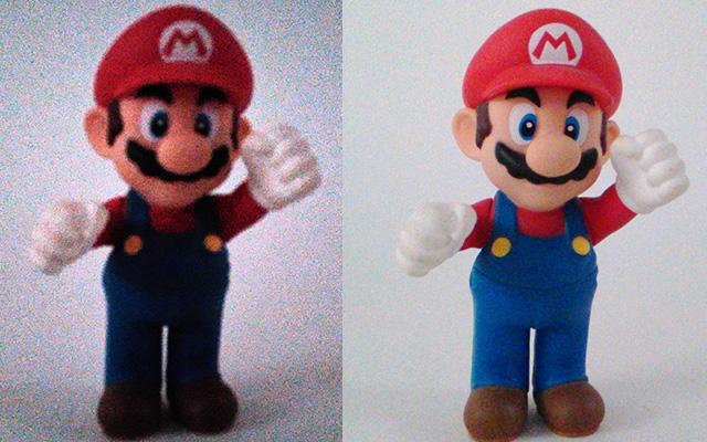 צילום בתאורה נמוכה. משמאל - צילום במצב אוטומט; מימין - במצב Low Light. מקור: גיקטיים