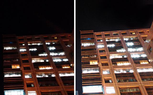 מצב Night Mode בפעולה. בשמאל הוא כבוי, בימין הוא פעיל. מקור: גיקטיים