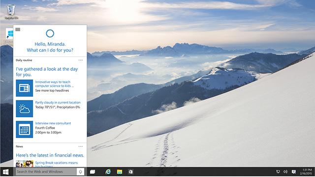 קורטנה על הדסקטופ. מקור: Microsoft