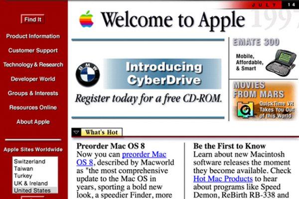 Apple.com בשנת 1997 מקור: Web Archive