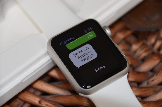 ה-Apple Watch, תמיכה בתצוגה בעברית, לא בתפריטים בשלב זה. צילום: גיקטיים