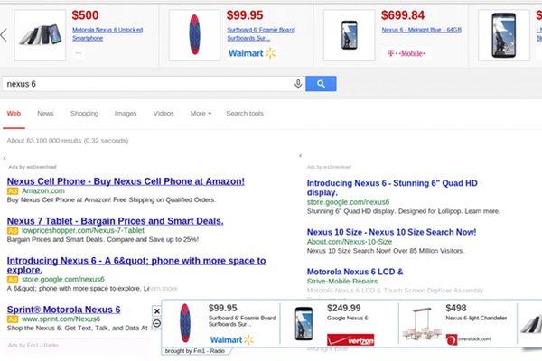 כך נראה עמוד חיפוש עם משתילי פרסומות מותקנים. מקור: גוגל