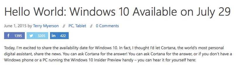 מתוך הבלוג של מיקרוסופט, ההודעה הרשמית על מועד השקתה של חלונות 10