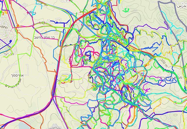 מסלולי הטיול, כפי שסימנו המשתמשים. מקור: Trailze