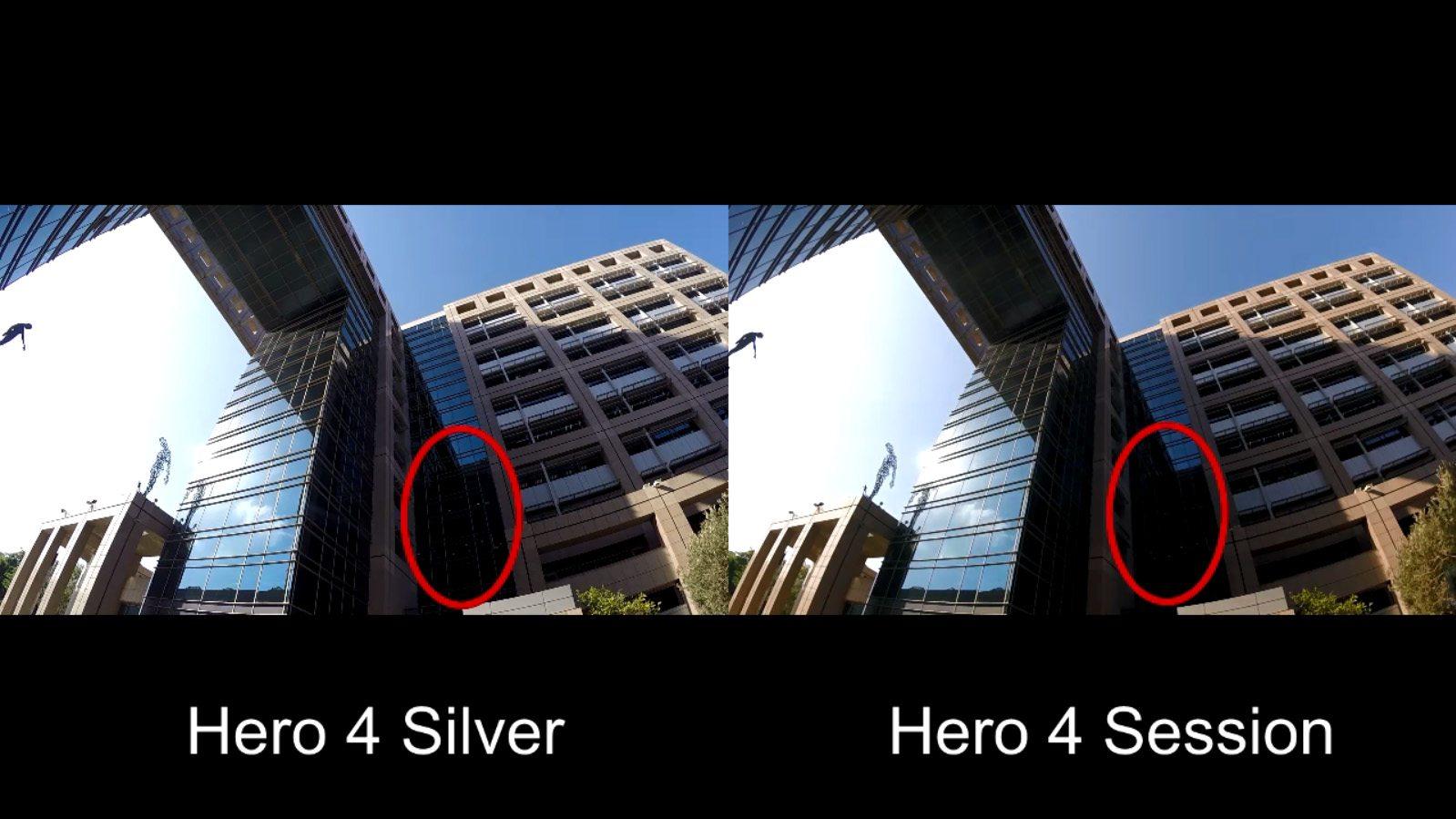 טווח דינאמי צר בהשוואה ל-Hero 4 Silver. קליק להגדלה. מקור: גיקטיים