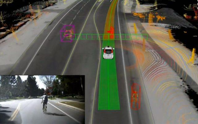 מצד ימין: כיצד רואה המכונית האוטונומית את הכביש ורוכב האופניים. מצד שמאל: התמונה המקורית