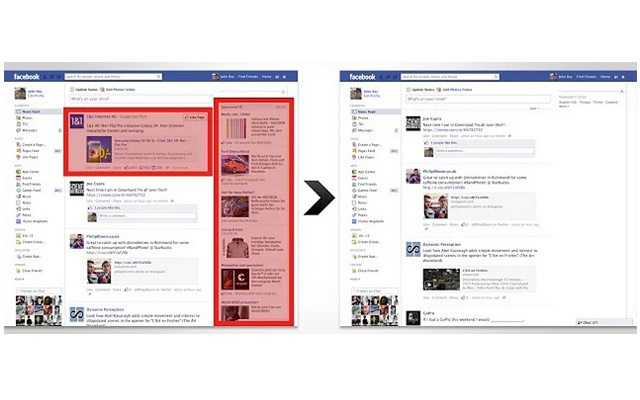 עמוד פייסבוק בלי AdBlock ועם. מקור: AdBlock
