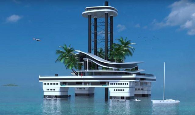 האי המלאכותי של Migaloo. צילומסך: סרטון Youtube